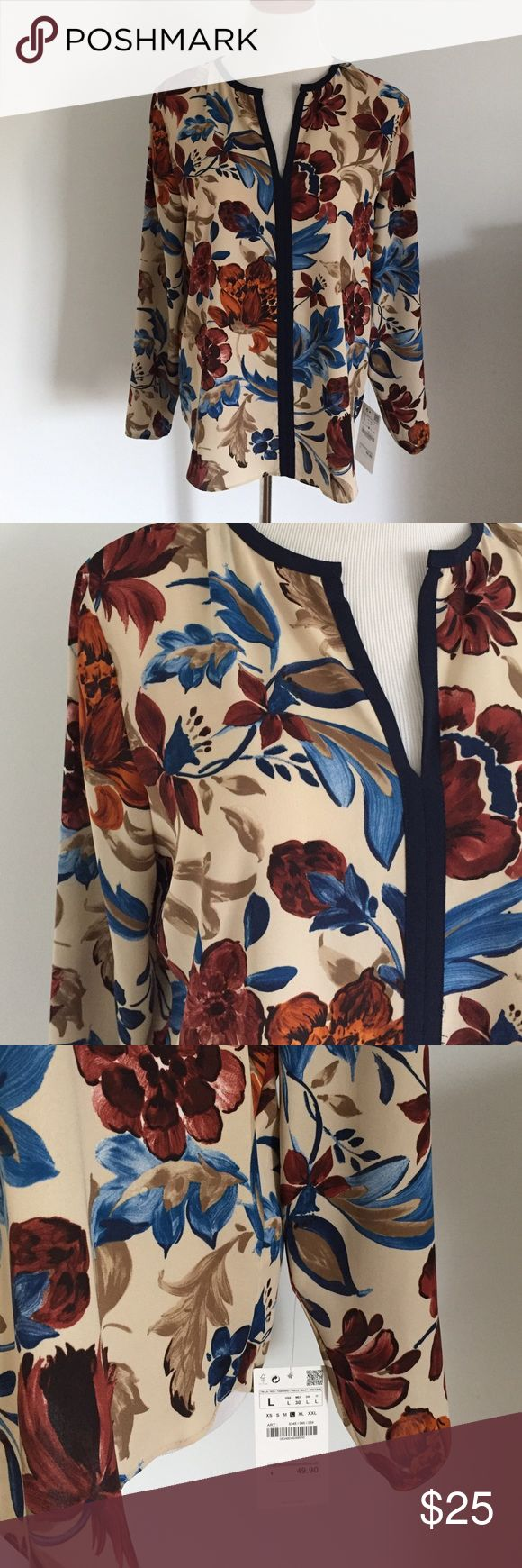 Zara Blue Brown Beige Blouse NWT Beautiful Blue floral split neck top. Zara Tops Blouses