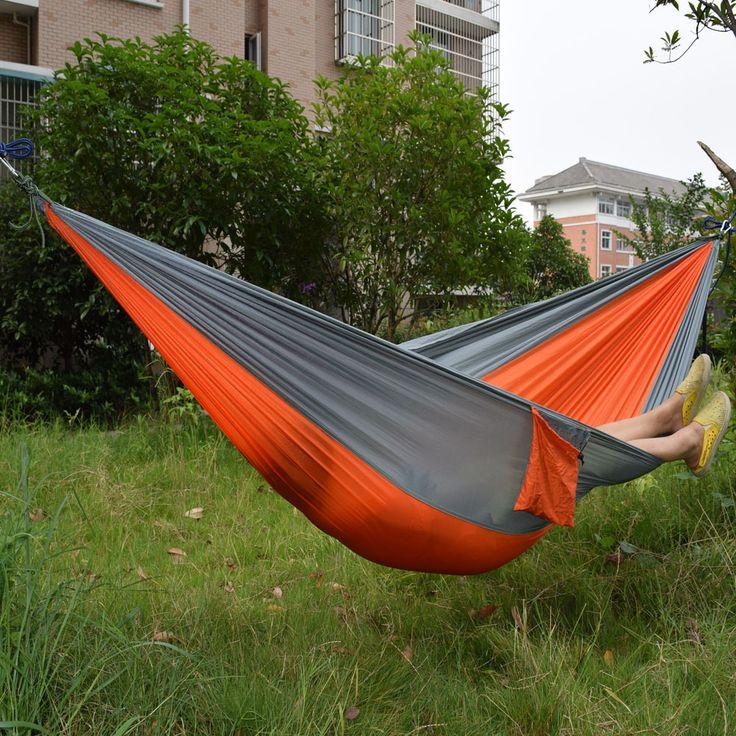 Wholesale Portable Nylon Parachute Double Hammock Garden Outdoor Camping Travel Survival Hammock Sleeping Bed For 2 Person