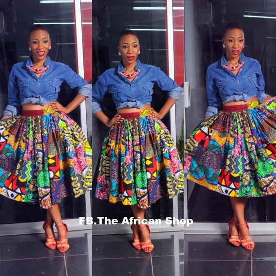Freeda Mid Length Skirt by THEAFRICANSHOP on Etsy, £40.00