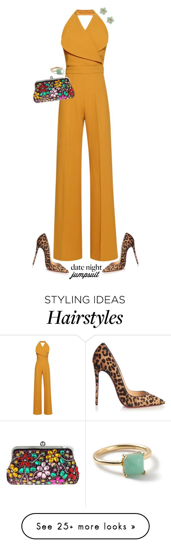 """Date Night in a Jumpsuit"" by acambree on Polyvore featuring Emilia Wickstead, Nina, Ippolita, Christian Louboutin, Accessorize, DateNight and jumpsuit"