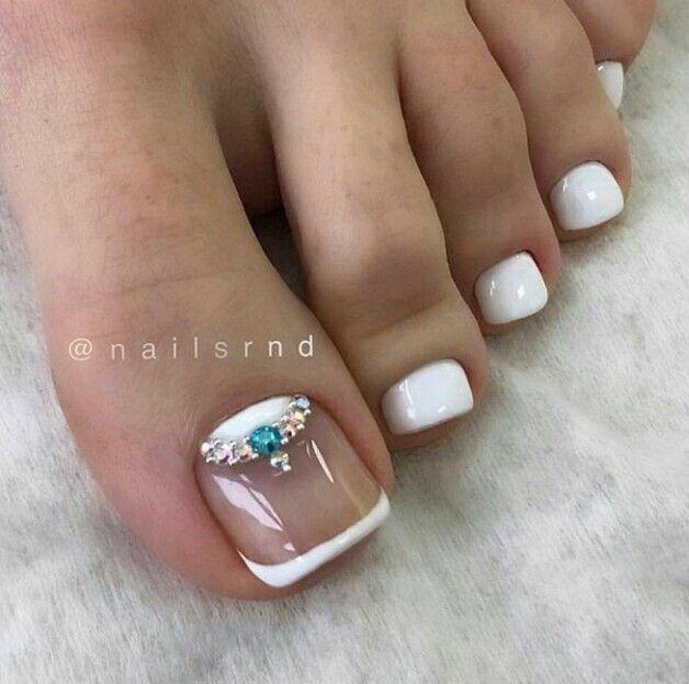 White French Toe Nails Summer Toe Nails French Toe Nails Pedicure Designs Toenails