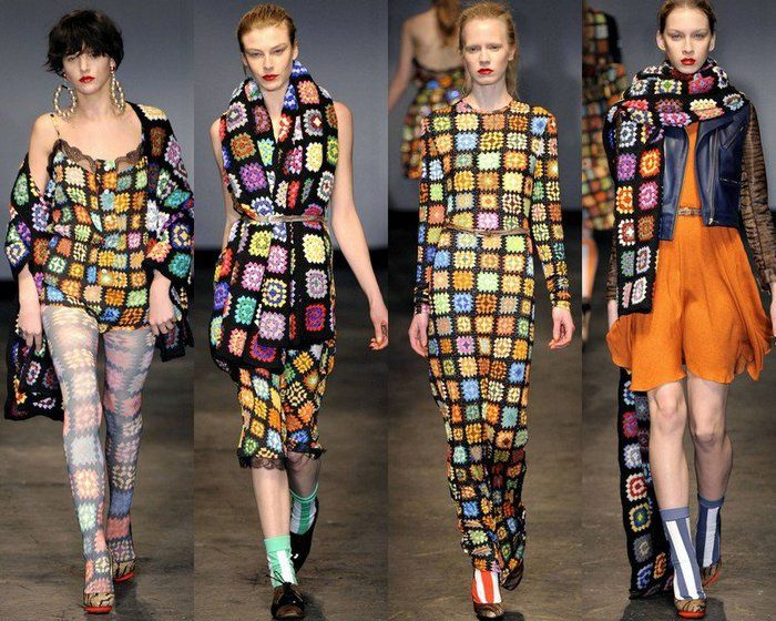 Granny Square Print Inspiration  Over the top, but the black borders make the grannies look modern.