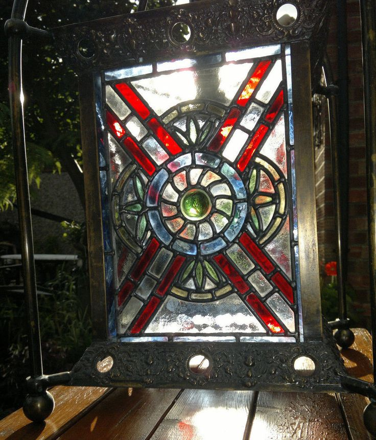 Huge Victorian Country House Stained Glass Hall Lantern Ceiling Light c1900