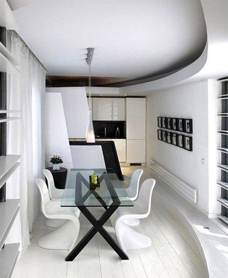 black and white dining room.