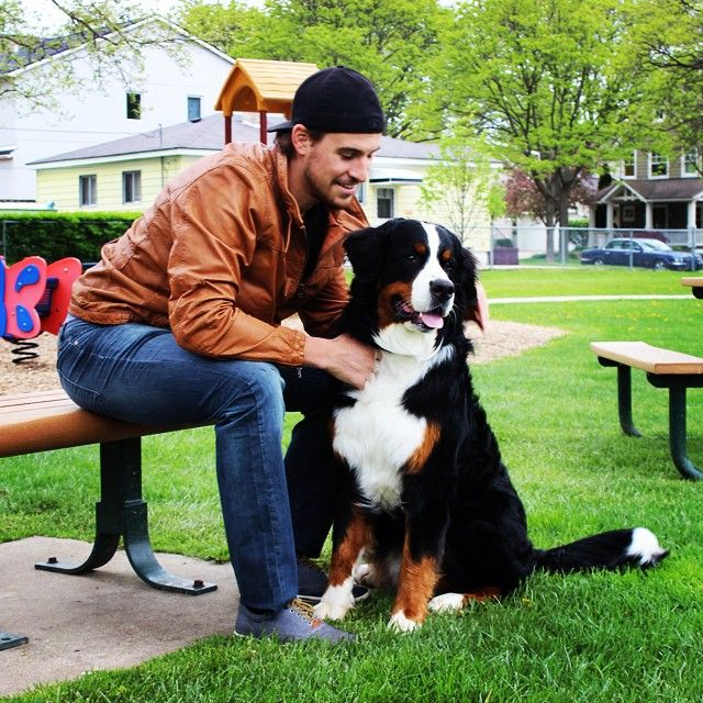 Detroit Red Wings: Brendan Smith and his dog, Brodie, for the Detroit Red Wings 2016 calendar benefiting the @michiganhumane