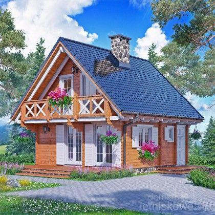 Drewniany domek letniskowy (Wooden house) Karolina 61 + 19 m2