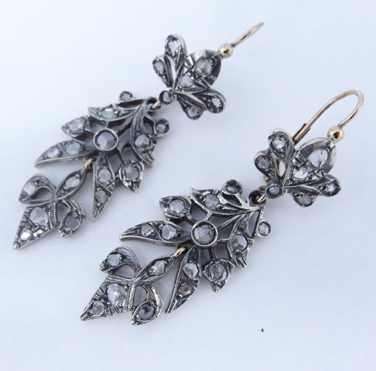 Image result for antique georgian silver earrings seed pearl and rock crystal
