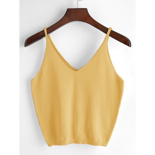 SheIn(sheinside) V Neckline Knit Cami Top ($5) ❤ liked on Polyvore featuring tops, yellow, cami crop top, crop tank, yellow crop top, cami tank and knit tank top
