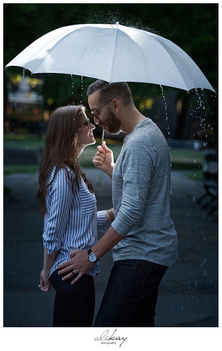 Engagement photography under the rain