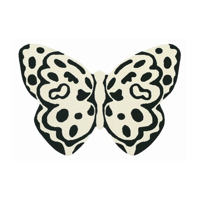 In the shape of a butterfly this rug in contrasting black and white is beautiful and bold, the pefect addition to your home.