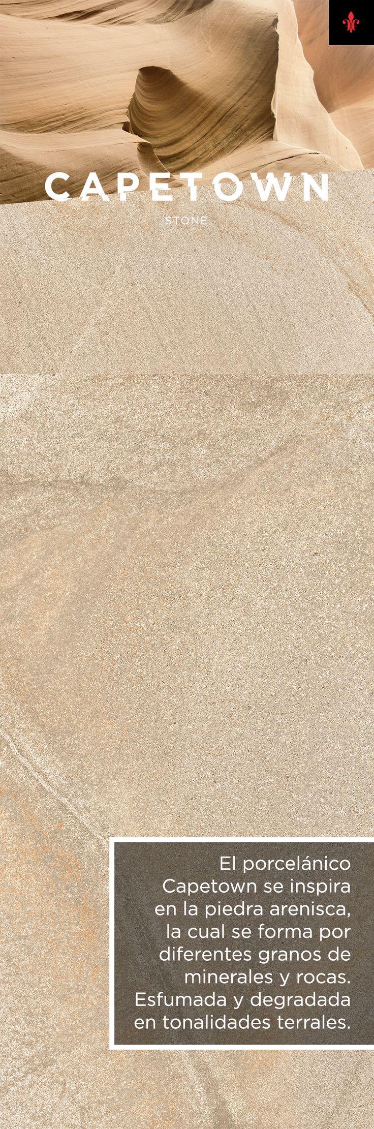 El porcelánico Capetown se inspira en la piedra arenisca, la cual se forma por diferentes granos de minerales y rocas.