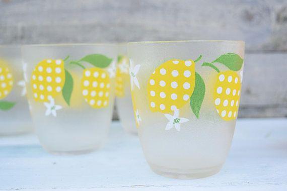 Lemon Glasses Drinking Glasses Yellow Polka Dots HJ