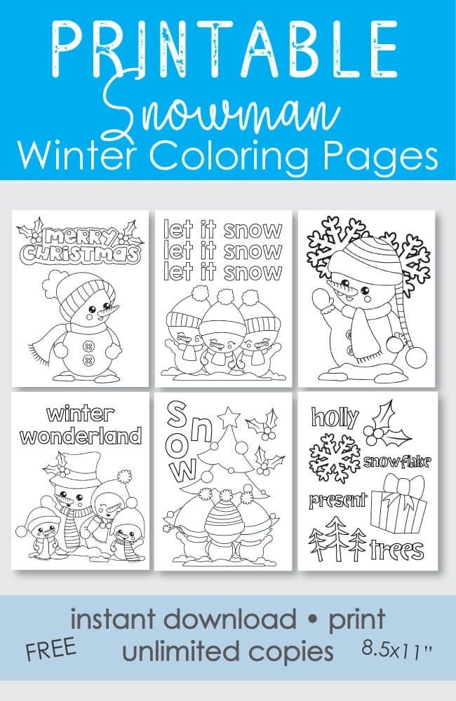 Print It Baby Snowman Coloring Pages Holiday Coloring Book Printable Snowman