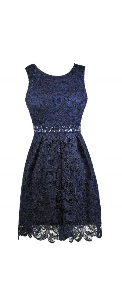 Lily Boutique Love Story Rhinestone Lace A-Line Dress in Navy, $40 Navy Lace A-Line Dress, Navy Bridesmaid Dress, Cute Navy Dress, Navy Lace Party Dress, Navy Lace Cocktail Dress www.lilyboutique.com