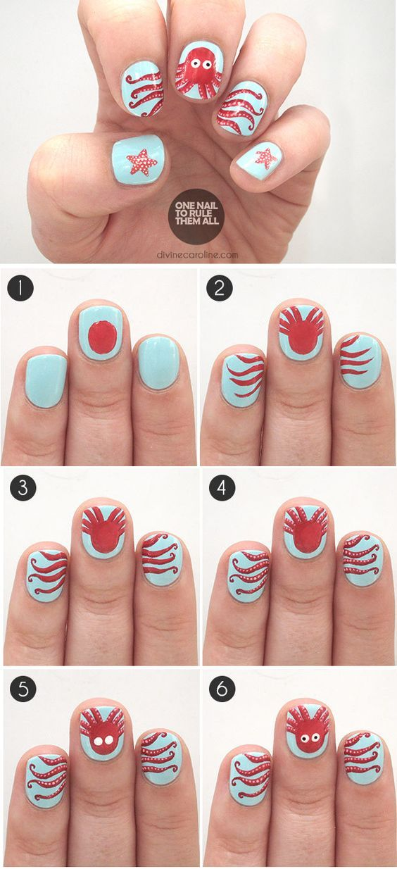 Cute Octopus nail art idea.