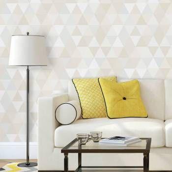 Papel de parede geométrico triângulos em tons bege, marrom, verde água e cinza, com aproximadamente 10 cm.Tamanho: 1 Rolo de 3m (altura) X 50cm (largura).