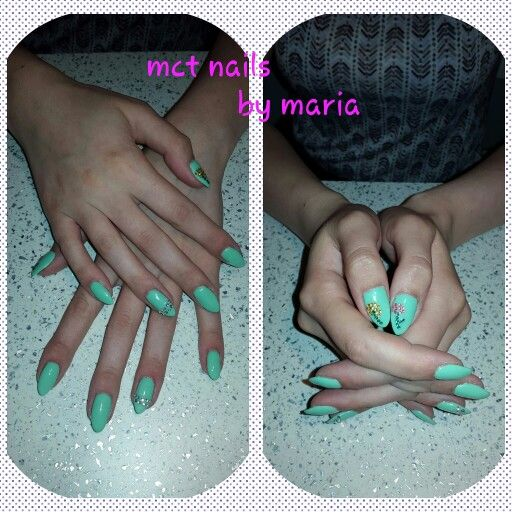 Gel nails with green color gel polish and strass decorations #nails #thessaloniki