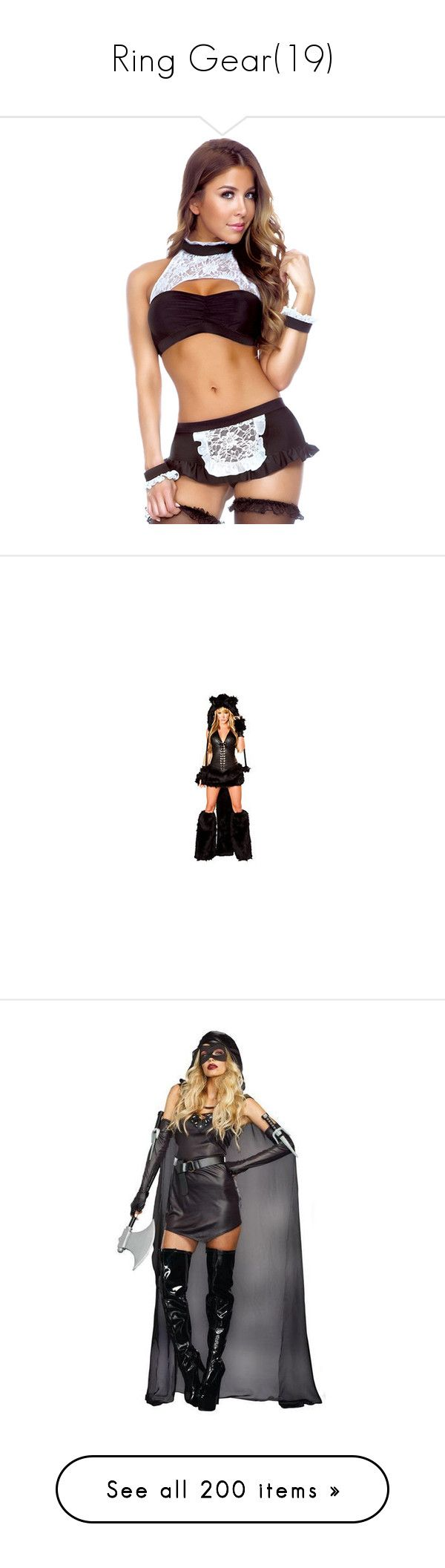"""Ring Gear(19)"" by jamiehemmings19 ❤ liked on Polyvore featuring costumes, costume, sexy halloween costumes, ladies halloween costumes, womens costumes, womens halloween costumes, sexy maid costume, ladies costumes, adult black cat costume and adult costume"