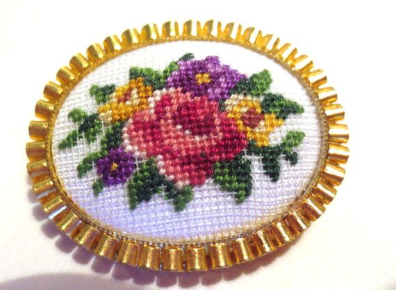 Pin Petit Point Needlepoint Filigree setting by AvriesGarden