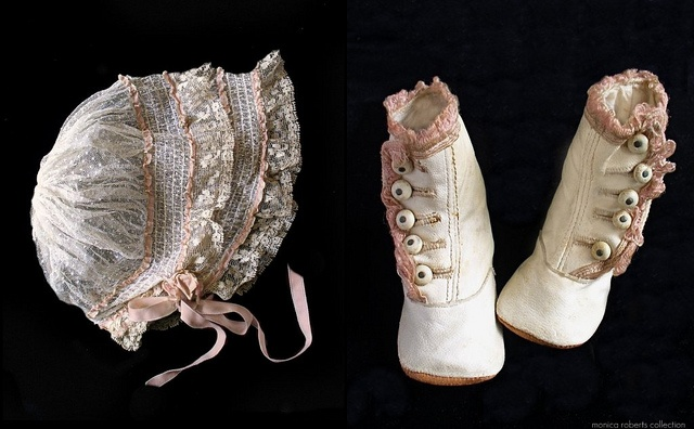 vintage Victorian baby boots and lace bonnet. Photo by Monica Roberts