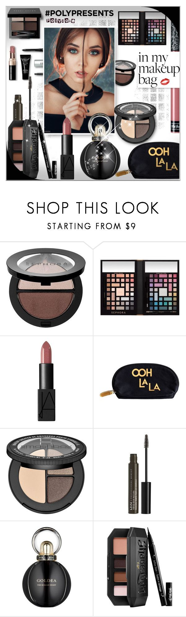 """""""B e a u t y !! #polypresents"""" by alves-nogueira ❤ liked on Polyvore featuring beauty, Bobbi Brown Cosmetics, Sephora Collection, Rosanna, NYX, Bulgari and Kat Von D"""