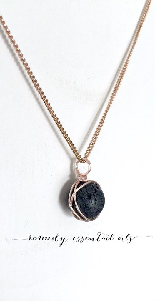 Rose Gold Wire Wrapped Lava Necklace; 12mm Lava Stone; Diffuser Necklace; Aromatherapy Jewelry; Essential Oil; Lava Stone by RemedyEssentialOils on Etsy https://www.etsy.com/ca/listing/468055222/rose-gold-wire-wrapped-lava-necklace