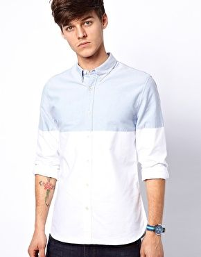 Image 1 of ASOS Oxford Shirt With Cut & Sew