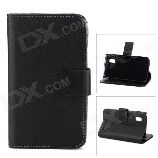 Brand: N/A; Quantity: 1 Piece; Color: Black; Material: PU; Compatible Models: LG E960 (Nexus 4); Other Features: Specially designed for LG E960 (Nexus 4), protects it from scratches, shock and dust; Can be folded as a stand, providing great angle for viewing, playing and typing; Convenient to use; Packing List: 1 x Case; http://j.mp/1sWK81G