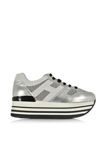Hogan Multicolor Fabric and Leather Platform Sneaker