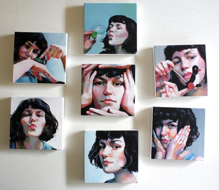 Jenny /small art  /7  tiny canvas  prints / face portrait/ woman illustration / small Pictures. $140.00, via Etsy.