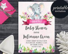 Es una chica  elefante bebé ducha invitación  archivo