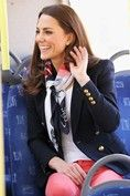 MARCH 14 2012 - In her role as a Team GB and Paralympics GB 2012 Ambassador, the Duchess visited the London 2012 Olympic Park and wore coral cropped jeans, an Emilio Pucci blazer and Team GB scarf for the occasion.