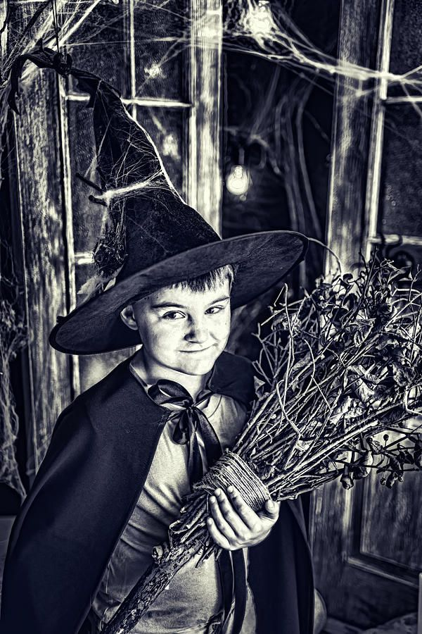 Door Photograph - Little Wizard by Mariia Kalinichenko. Mood of Halloween in black and white.