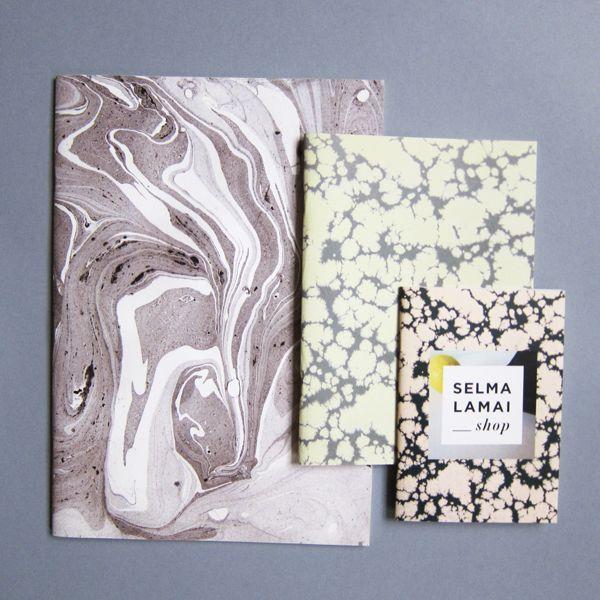 Set of three handmade marbled notebooks.Sizes 9,5 x 14 cm14 x 19,5 cm 19,5 x 28 cm SELMA LAMAI / design —selmalamai.dk