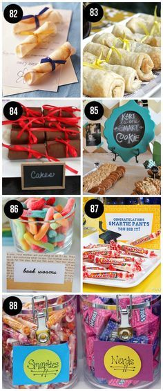 A lot of info but might be good for other aspects of grad too- gifts, cards, etc.  Easy, last minute graduation party food ideas!!  These are super clever.
