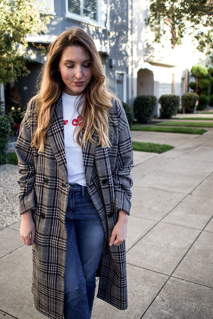My Favourite Coat For Not So Cold Days | Featuring Madewell Long Checked Coat, Ganni Logo Tee, Frame Straight Jeans And Sam Edelman Black Suede Boots | Wolf & Stag