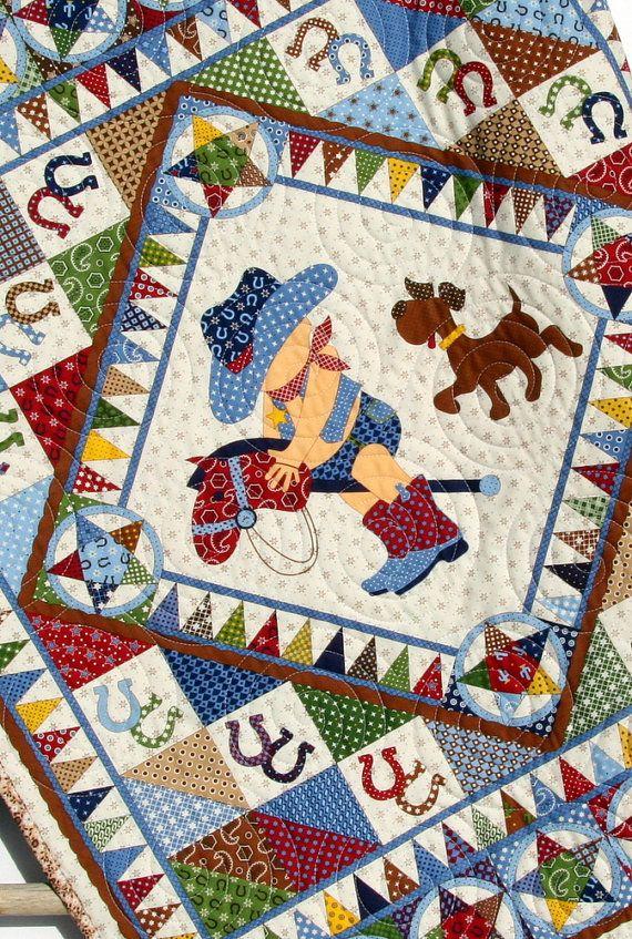 Cowboy Quilt Western Bandana Boy Blanket by SunnysideDesigns2