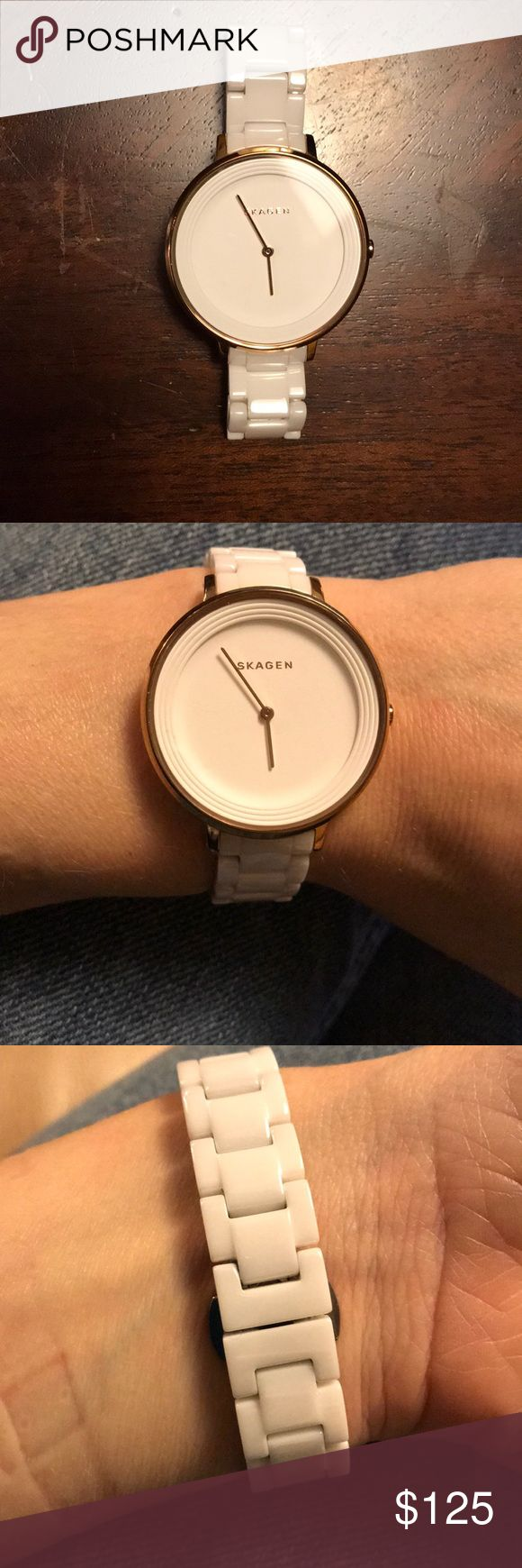 Skagen white ceramic watch Bracelet links are ceramic and will include the extras removed for sizing. Worn infrequently as I also have an Apple Watch as my primary timepiece. White face with rose gold trim around face. No signs of wear. Great condition and a great large face watch Skagen Accessories Watches