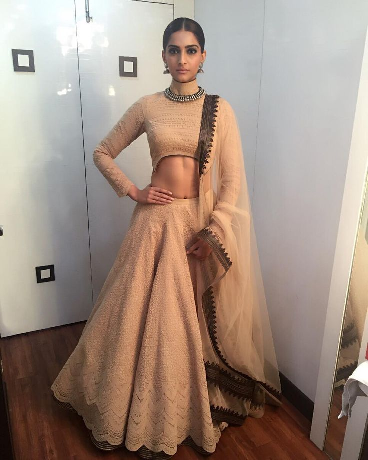 Sonam Kapoor in a bling free pastel lehenga with great cuts while promoting #PRDP. #Bollywood #Fashion #Style #Beauty #Ethnic #Desi #Instagram