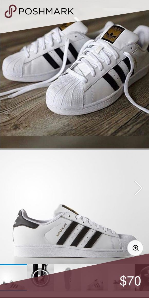 Adidas Superstar Shoes Adidas superstars with black stripes. New, never worn Adidas Shoes Sneakers