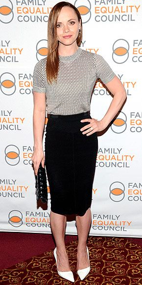 CHRISTINA RICCI Shes a fan of white shoes – along with everyone else in Hollywood! Christina pairs her summery pumps with a structured black pencil skirt and a casual beige tee at the Family Equality Council event in N.Y.C.