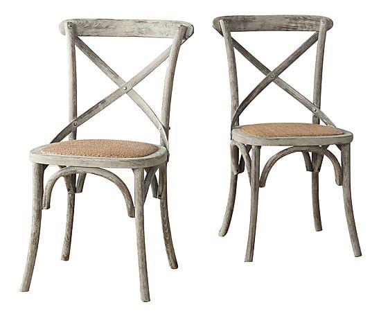 Set di 2 sedie in rattan e legno di quercia Jack grigio - 50x53x88 cm