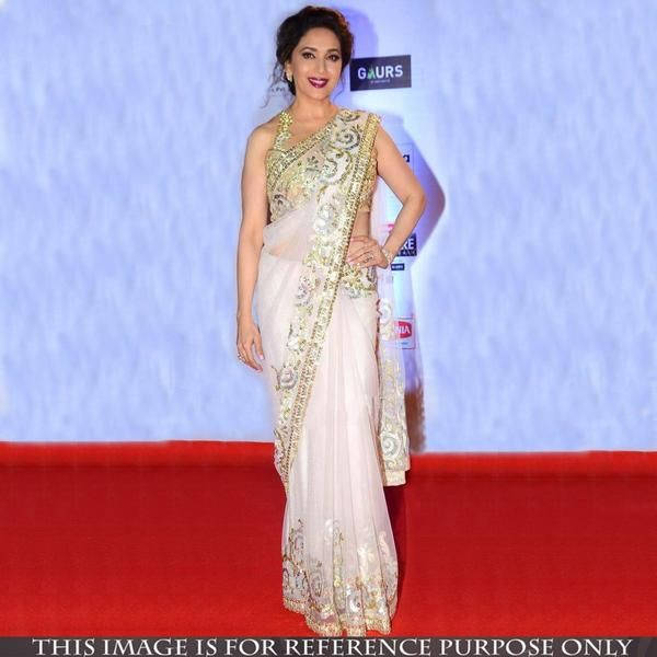 Party Wear White Net Bollywood Sarees With Sequins