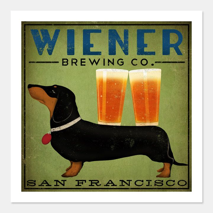 DACHSHUND Wiener Dog Brewing Company graphic art giclee print Etsy.