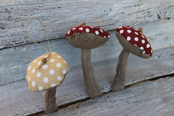 Home decoration 3 mushrooms handmade  Christmas by BYildi on Etsy