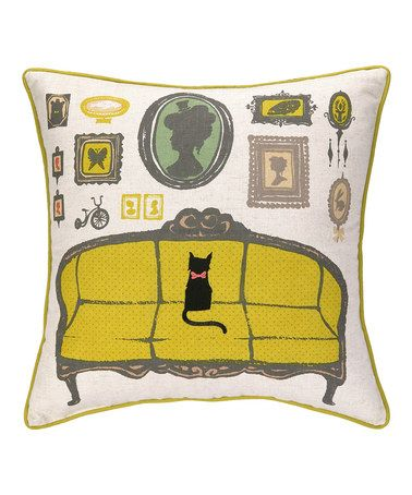 Yellow Victorian Cat Throw Pillow by Peking Handicraft 36.99  Thanks to a bright and bold design by artist Sarah Watts, this throw pillow instantly turns any sofa, chair or bed into an original work of art. Plus, the removable cover with zip closure makes care easy.