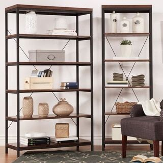 Somme Rustic Metal Frame 6-tier Bookshelf Media Tower by TRIBECCA HOME - Free Shipping Today - Overstock.com - 17494106 - Mobile