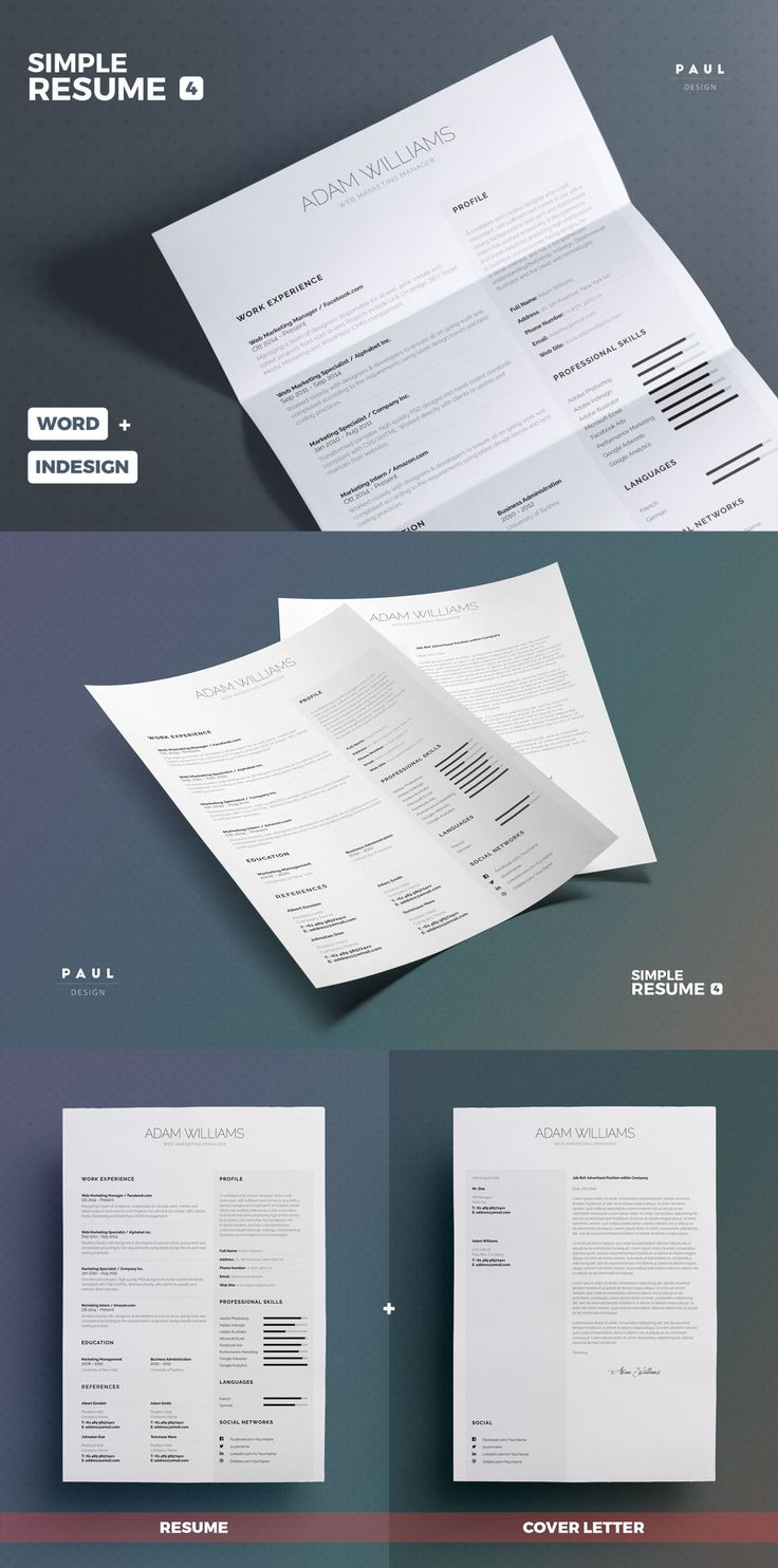 simple resume    cv template indesign indd  ms word