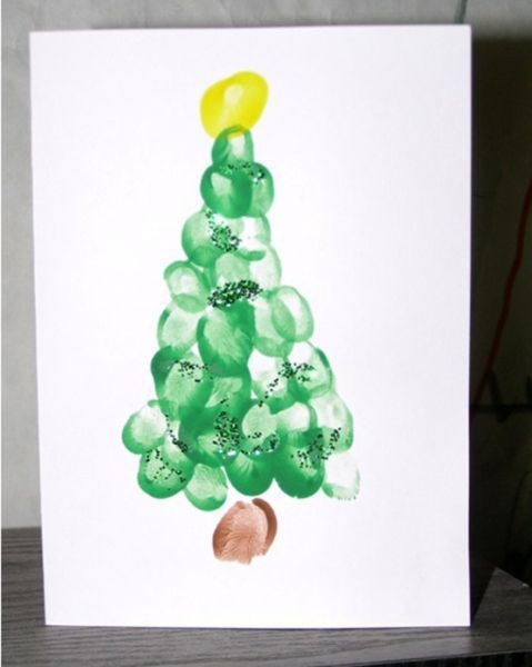 DIY | je eigen kerstkaart maken | Flair at home  Maak de boom met vingerafdrukken :-)