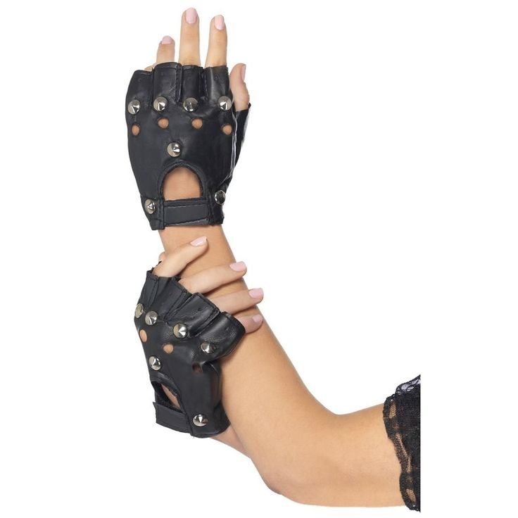 Womens Fingerless Biker Gloves Adult Punk 80s Rocker Costume Accessory #Smiffys